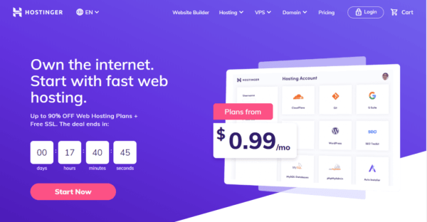 Hostinger review page pic