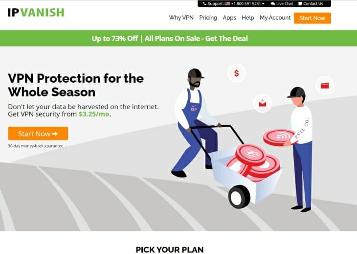 IPVanishVPN review homepage pic