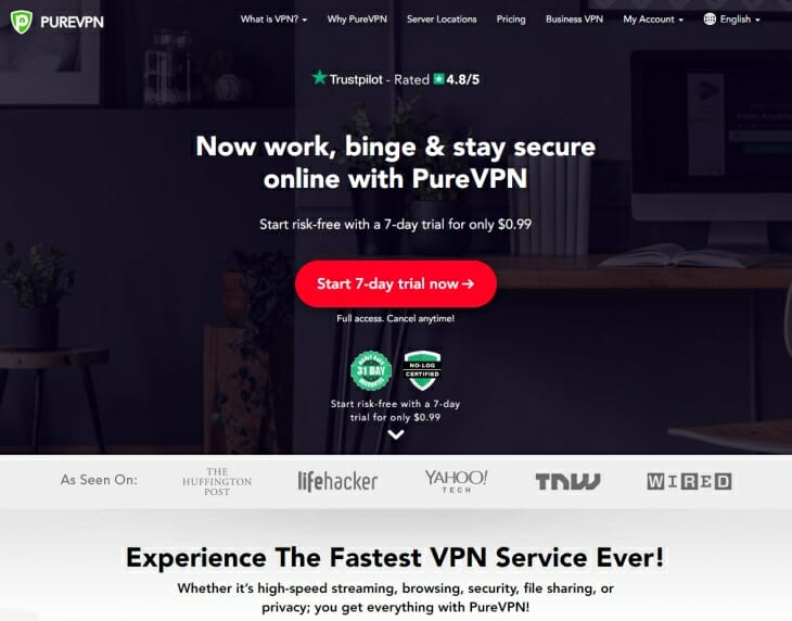 PureVPN review homepage pic