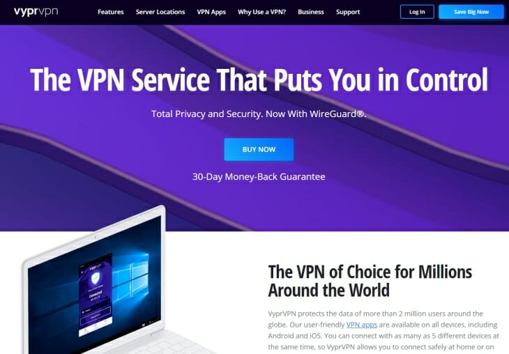VyprVPN review homepage pic