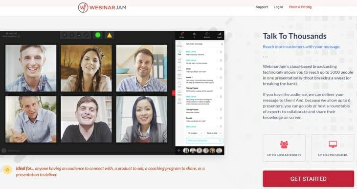 WebinarJam review homepage