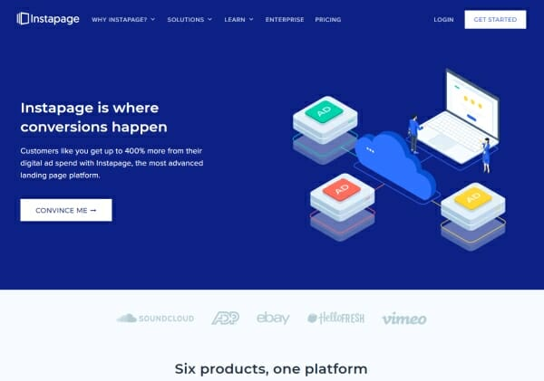Instapage review homepage