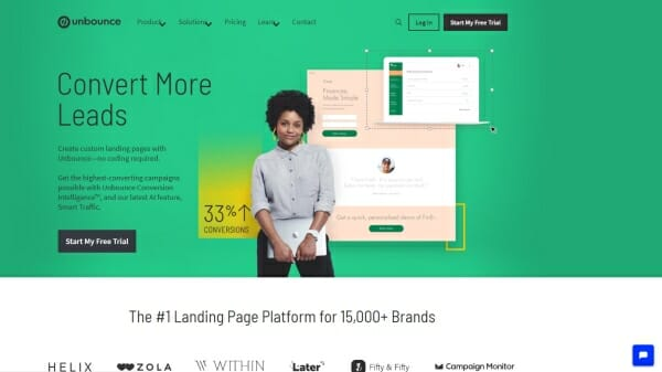 Unbounce review homepage